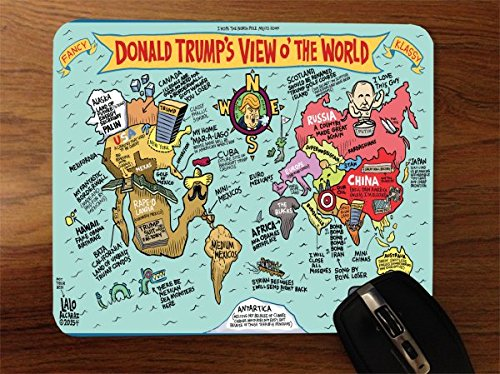 Donald Trumps View of The World Political Humor Desktop Office Silicone Mouse Pad by Debbie's Designs