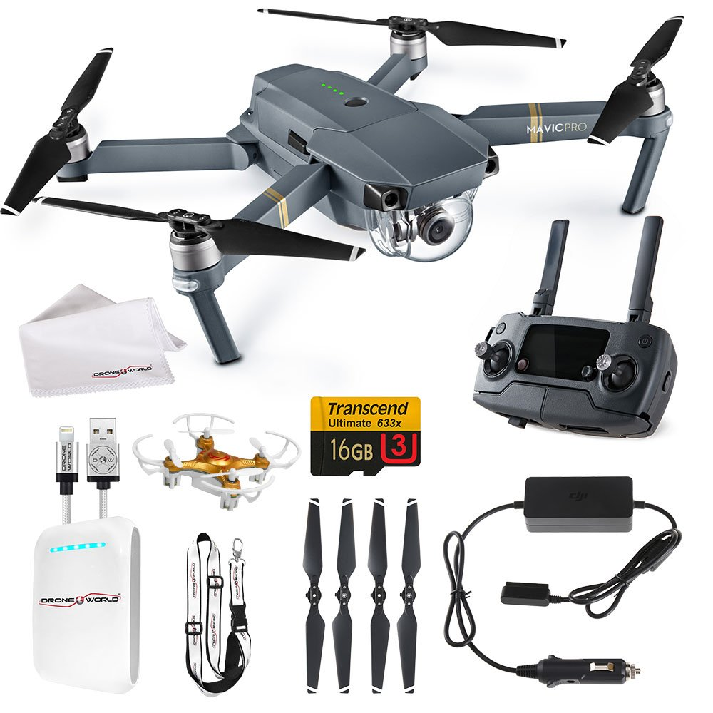 DJI Mavic Pro Drone World Exclusive Starter Pack - Portable Battery Bank, Lanyard, iPhone Cable, Cleaning Cloth & Free Mini Drone! by Drone World