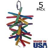 Popsicle Sticks Bird Toy for Small / Medium Birds - MADE IN USA - Multi-Pack by Beakaroos - Parakeet Cockatiel Conure Parrotlet Lovebird Shredder