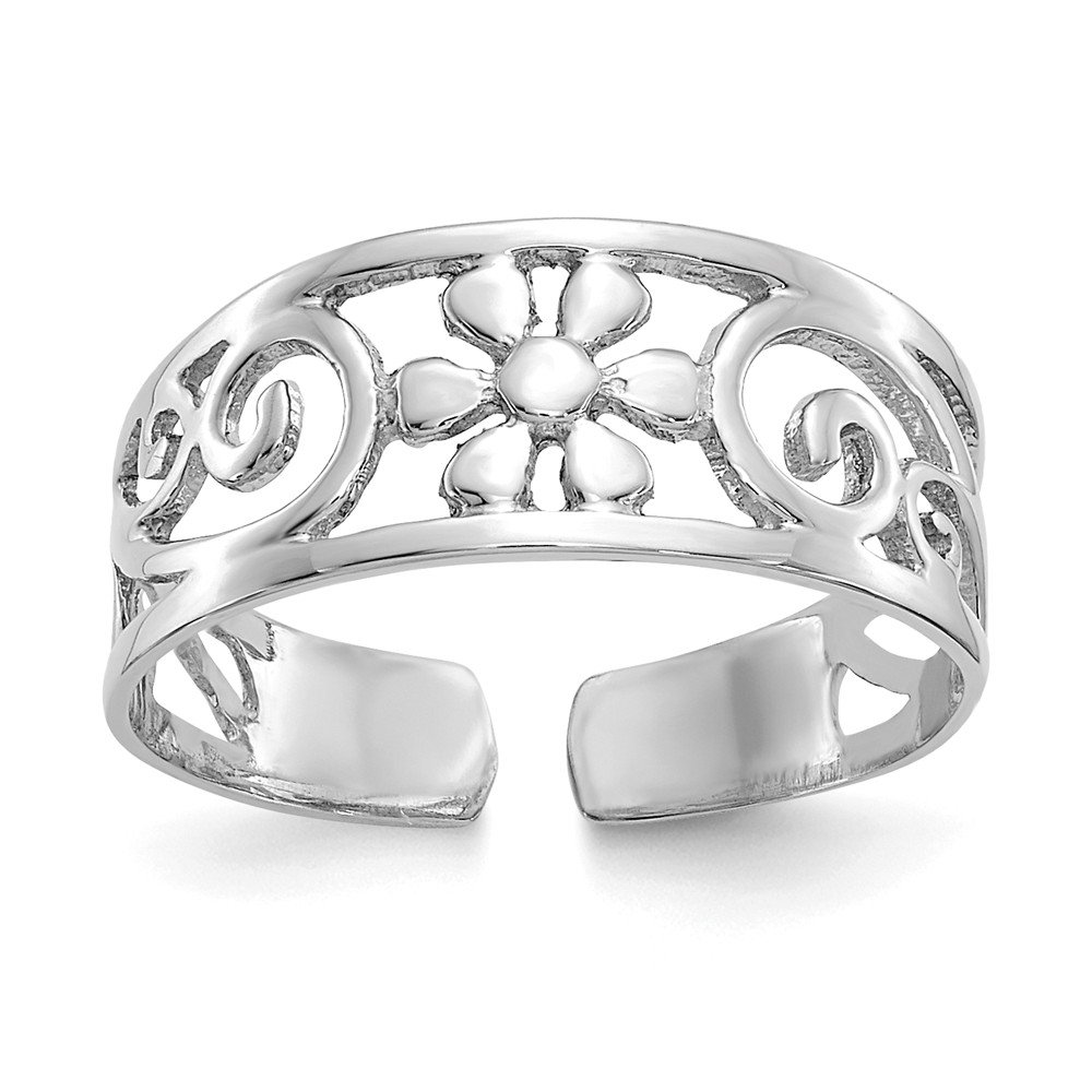 Jewels By Lux 14k White Gold Floral Toe Ring