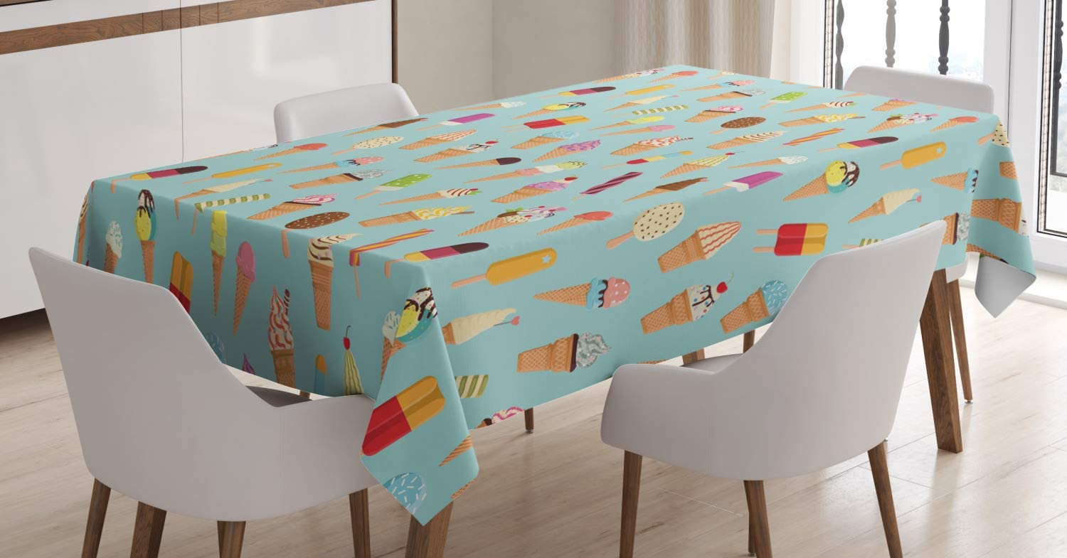 Ambesonne Ice Cream Tablecloth, Mix of Yummy Dessert with Chocolate and Fruit Flavor Toppings Cones Illustration, Rectangular Table Cover for Dining Room Kitchen Decor, 60