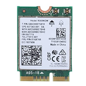 ASHATA Tarjeta de Red Bluetooth 5.0 Inalámbrica Banda Dual para Intel 9560NGW,Compatible con Samsung/DELL/Sony/Acer/ISUS/MSI/Clevo/Terransforce/Hasee, ...