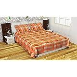 Dreams Home Fleece Warm Woolen Double Bedsheet with 2 Pillow Covers (Brown)