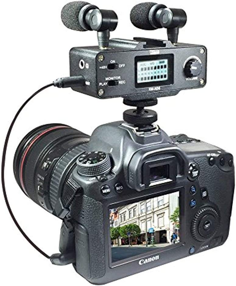 Microphone Works with Coby CAM5001 Camcorder with SDC-26 Case Video Cameras and Phones External Microphone Vidpro XM-AD5 Mini Pre-Amp Smart Mixer with Dual Condenser Microphones for DSLRs