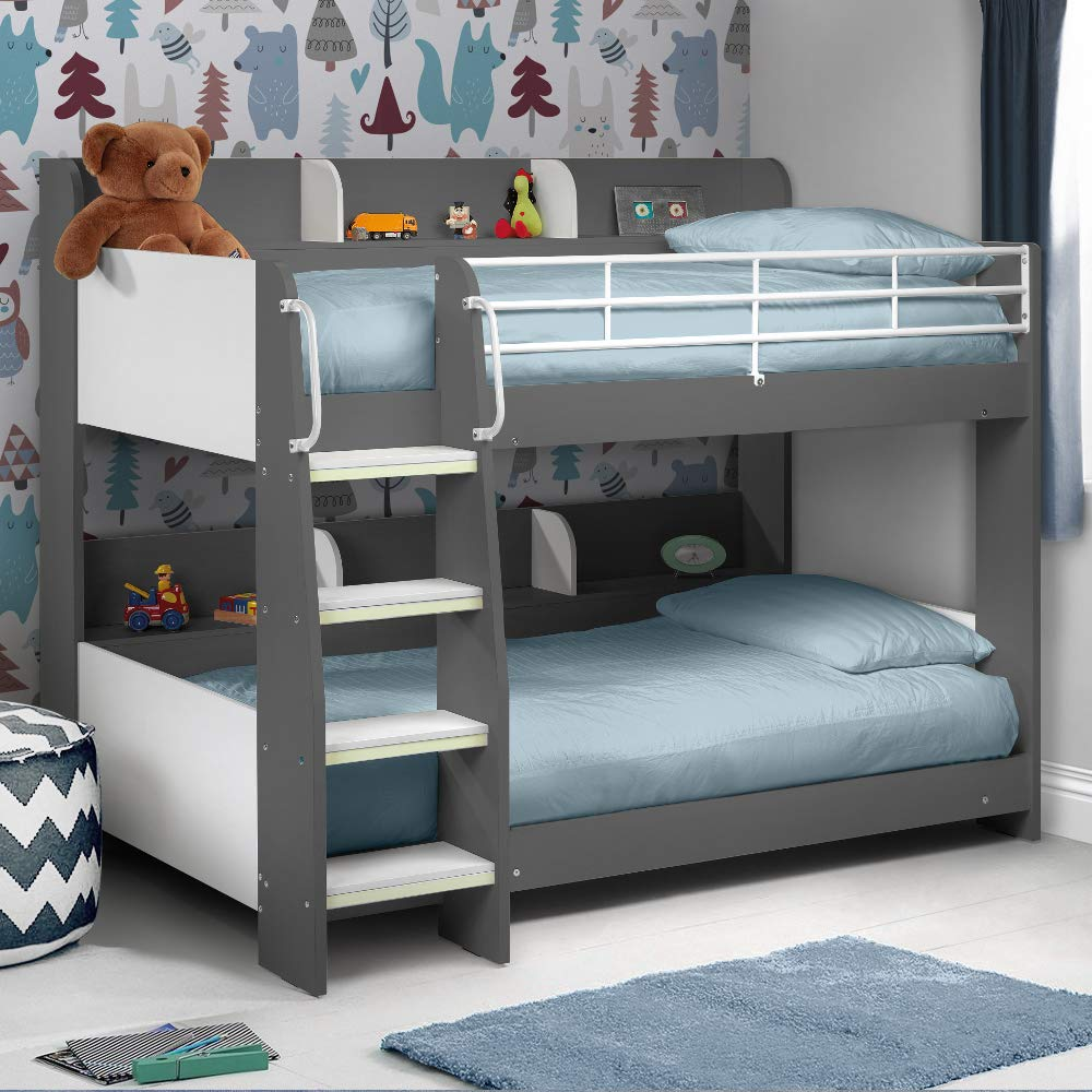Happy Beds Domino Grey Wooden And Metal Kids Bunk Bed With Storage
