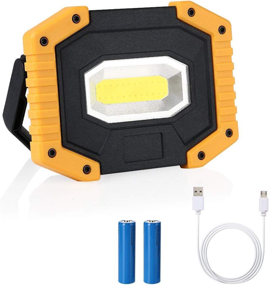 SOS 2 * 18650 Batterie Lithium 20W Projecteurs Travail Rechargeable IPX4 flintronic/® Lampe de Camping /à LED Secours Lumi/ère Ext/érieur /é Tanche pour Prises de Courant Camping