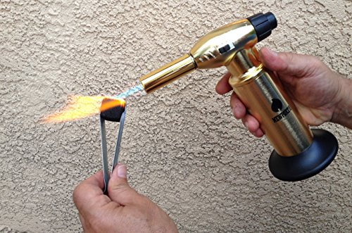 Creme Brulee Culinary Kitchen Torch - Cooking Torch & Multifunction Butane Torch Lighter - Intense Adjustable Jet Flame (Up to 2400 F) - Includes Safety Lock, Piezo Ignition, and Quick Refill System - 10'' Gold by Newport (Image #3)