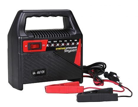 SKYPORT - Cargador de batería de 6 V/12 V – 6 A (con Cargador de batería para Moto y Coche, hasta 120 Ah – Ayuda de Arranque)