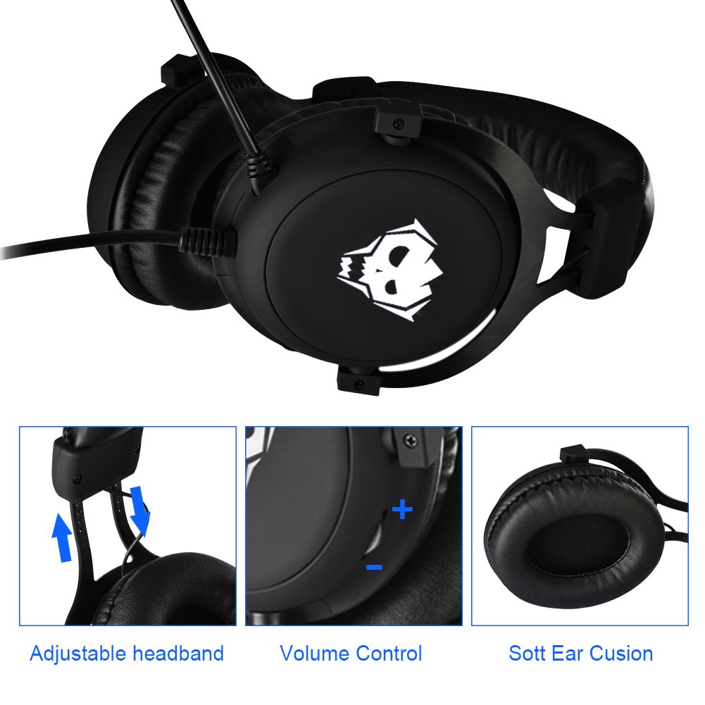 PC Gaming Headset,AWON Professional 7.1 Channel Virtual USB Surround Stereo Earphones with 57mm Driver Wired Gaming Headset,Noise Isolating LED Light,Gaming Headphone for PC,Laptop, Computer(Black) by Awon (Image #4)