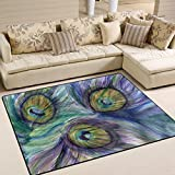 Naanle Peafowl Area Rug 5'x7', Peacock Feather Polyester Area Rug Mat for Living Dining Dorm Room Bedroom Home Decorative