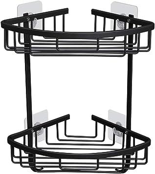 Bathroom Shower Caddy Adhesive Corner Shelf Storage No Drilling Wall Black