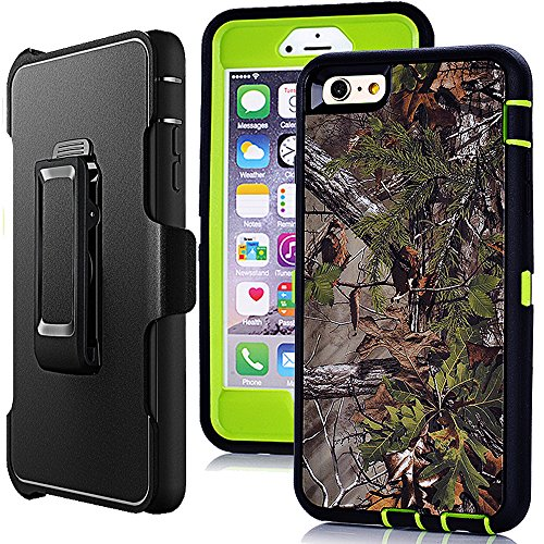 iPhone 6 Plus Holster Case,Harsel Defender Heavy Duty Shock Absorbent Camo Natural Wood 360 Rugged Hybrid Protection Case w/Screen Protector & Rotating Clip for iPhone 6 Plus /6s Plus 5.5