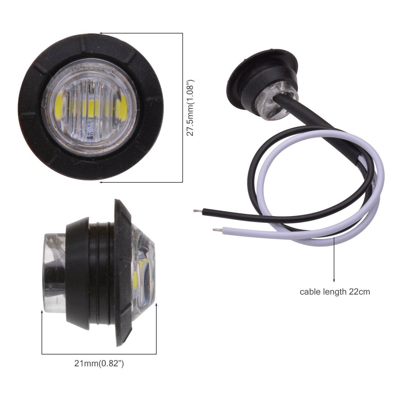 feu de position Etanche arri/ère KaTur 12 V Pour voiture ou camion blanc de c/ôt/é LED ronde 1,9/cm pour lampe avant