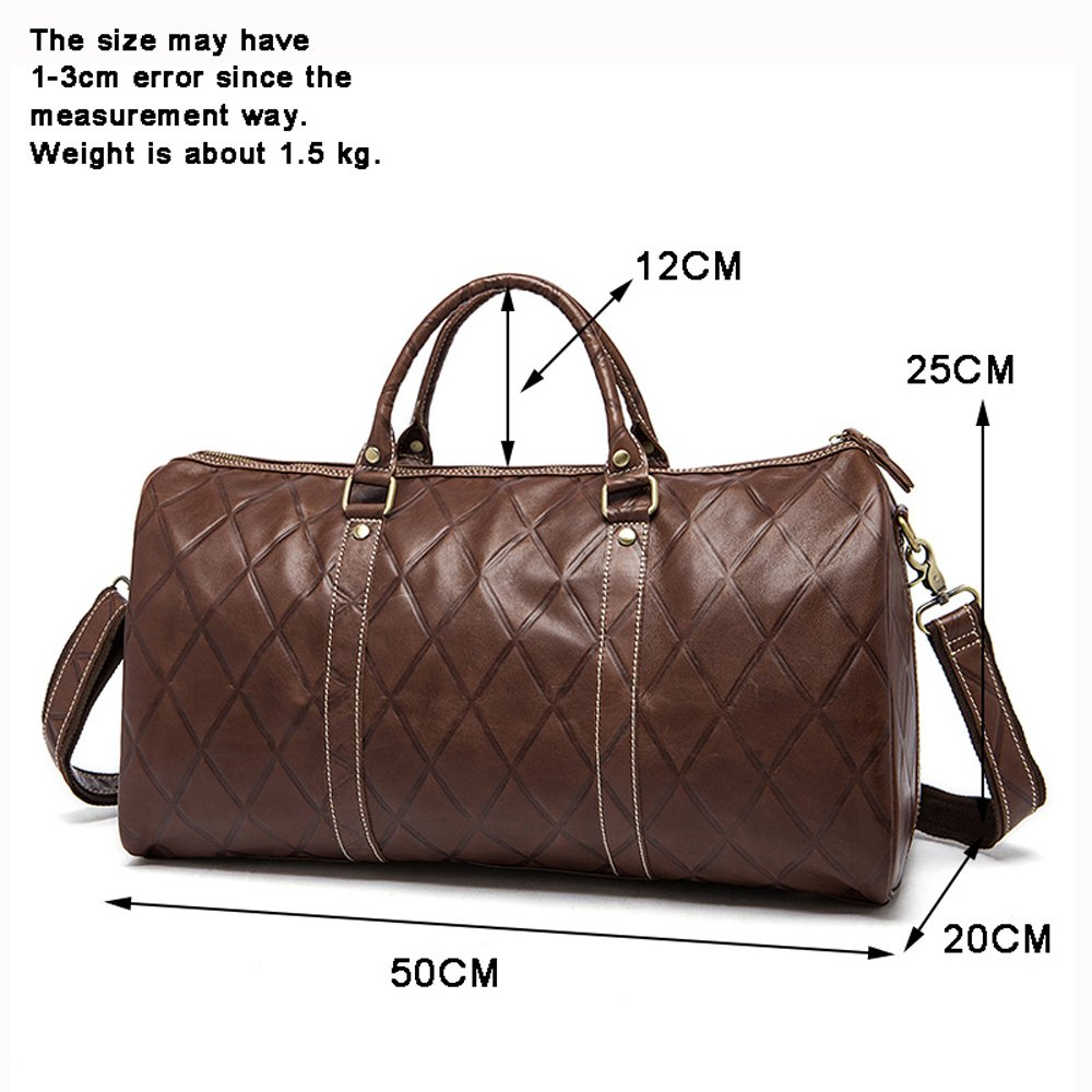 Fashionable travel bag with crazy horse leather coffee classic style