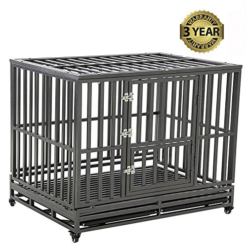 - LUCKUP Heavy Duty Dog Cage Strong Metal Kennel and Crate for Medium and Large Dogs, Pet Playpen with Four Wheels,Easy to Install,42 inch,Black