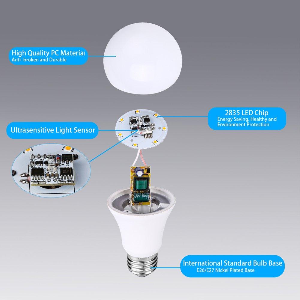 Dusk to Dawn Light Bulb Sensor Smart LED Outdoor Lighting Bulbs Lamp ...