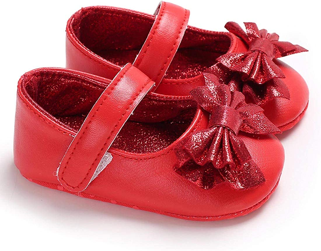 YIBLBOX Baby Girls Bowknot PU Leather Shoes Sneaker Anti-slip Soft Sole Toddler Mary Janes
