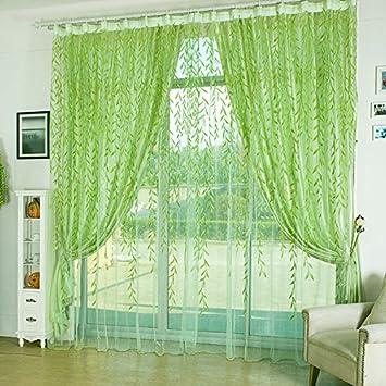 Tourwin 100 X 200 Cm Grün Blätter Voile Fenster Sichtschutz Balkon Schlafzimmer  Fenster Vorhang Heimtextilien Fenster