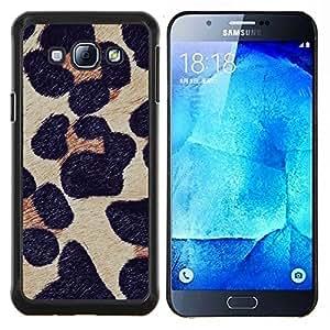 Modelo de la piel del leopardo de la naturaleza animal- Metal de aluminio y de plástico duro Caja del teléfono - Negro - Samsung Galaxy A8 / SM-A800