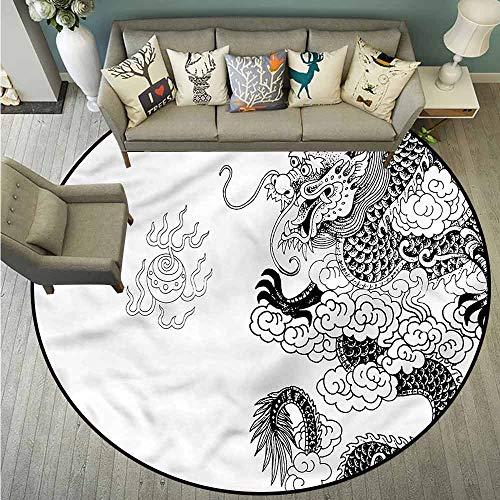 Pet Rugs,Ancient China,Oriental Symbols,Machine-Washable/Non-Slip,5'3