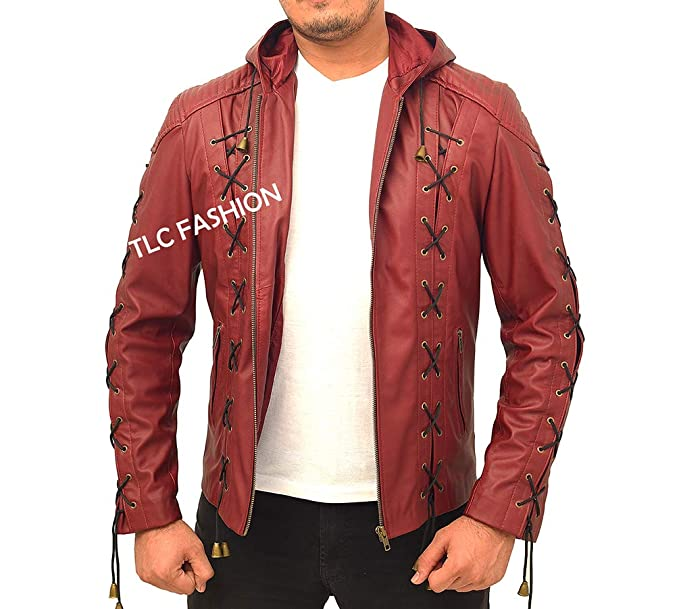 Amazon.com: Chaqueta de piel para disfraz de flecha roja ...