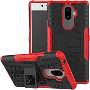 Lenovo K8 Note Case, Lantier Hybrid Armor Shockproof Impact Protection Tough Hard Rugged Heavy Duty Combo Dual Layer Protective Case Cover with Kickstand for Lenovo K8 Note Red