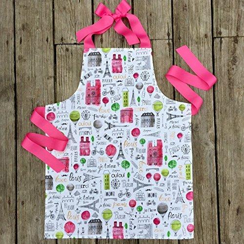 Pink Paris Tween Girl Apron Gift for Kitchen or Art from Sara Sews