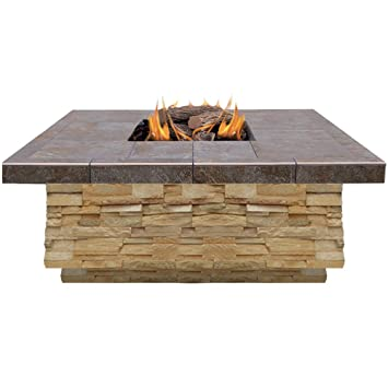 Incroyable Cal Flame FPT S301 APF Natural Stone Propane Gas Fire Pit With Log Set