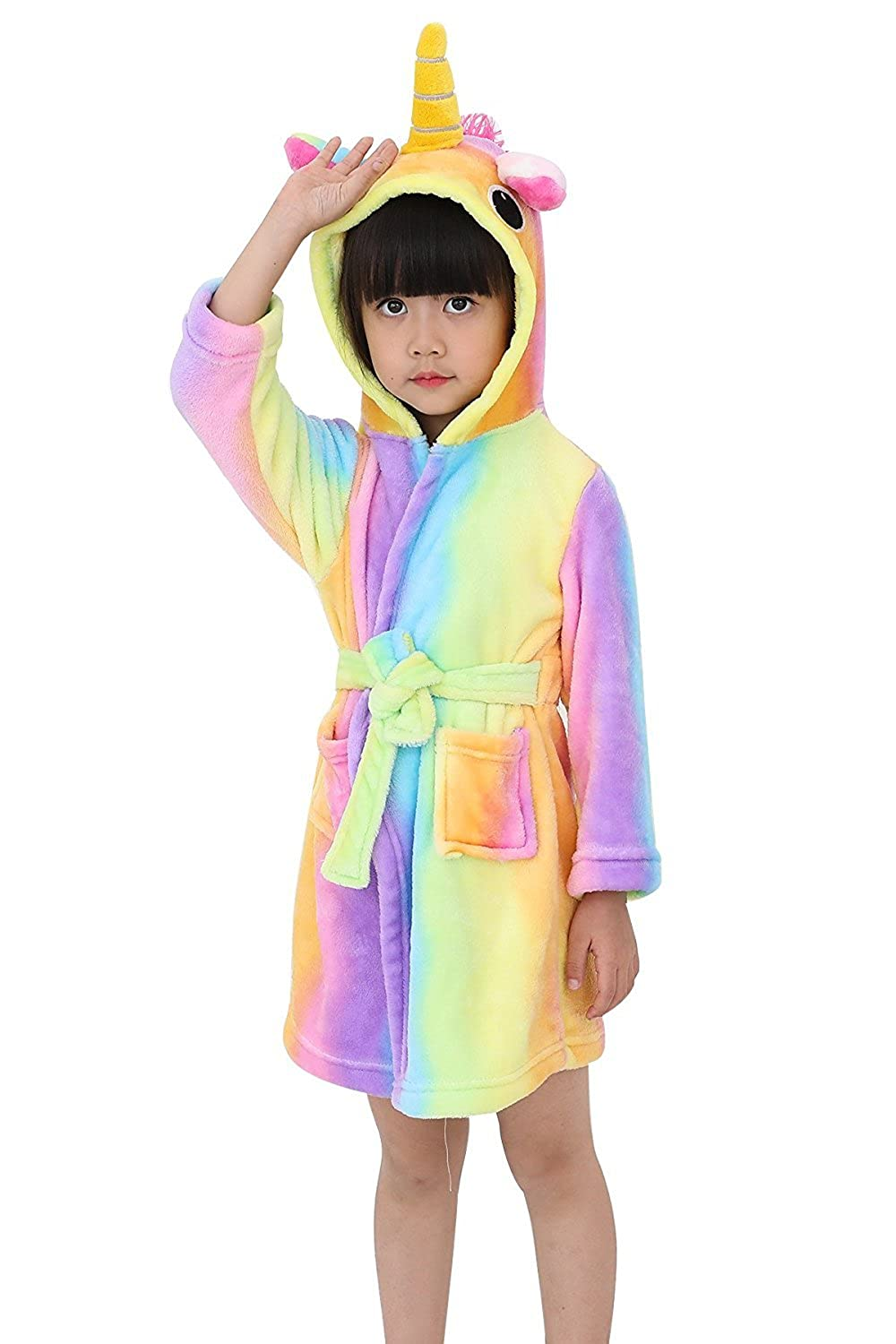 Amazon.com  Toddler Rainbow Unicorn Bath Robe Girls Boys Fleece Hooded Bathrobe  Kids Pajamas Children s Sleepwear Plush Kimono  Clothing e24de81eb