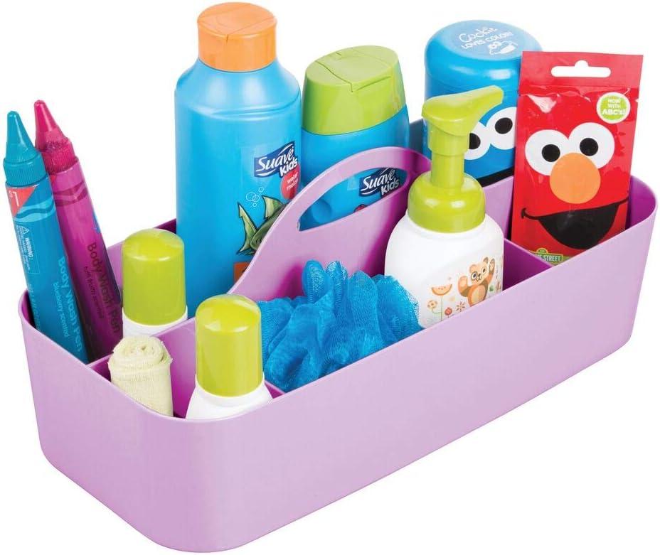 etc Violet Boite de Rangement avec poign/ée Pratique mDesign Rangement Chambre Enfant avec 11 Compartiments Panier de Rangement en Plastique sans BPA pour Jouets