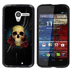 GOODTHINGS Funda Imagen Diseño Carcasa Tapa Trasera Negro Cover Skin Case para Motorola Moto X 1 1st GEN I XT1058 XT1053 XT1052 XT1056 XT1060 XT1055 - Estrellas noche negro flores color de rosa del cráneo