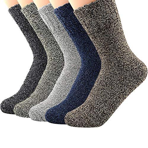 Womens 5 Pairs Vintage Winter Soft Warm Wool Crew Socks Thick Knit Cozy Sock
