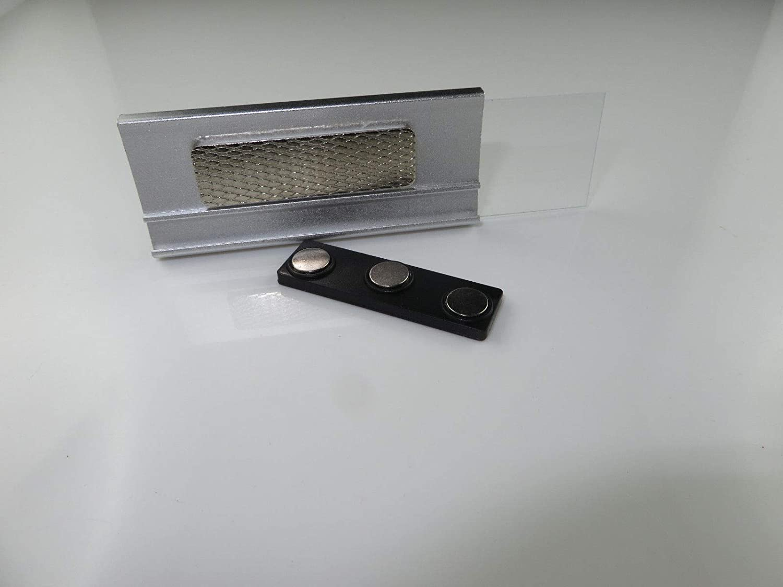Aluminium Namensschilder Komplettset silber magnetisch 10 St/ück zum Anstecken an Kleidung Schild zum Bedrucken mit 3-Punkt Magnet Magnetnamensschild Namensschilder Magnet 70x30mm