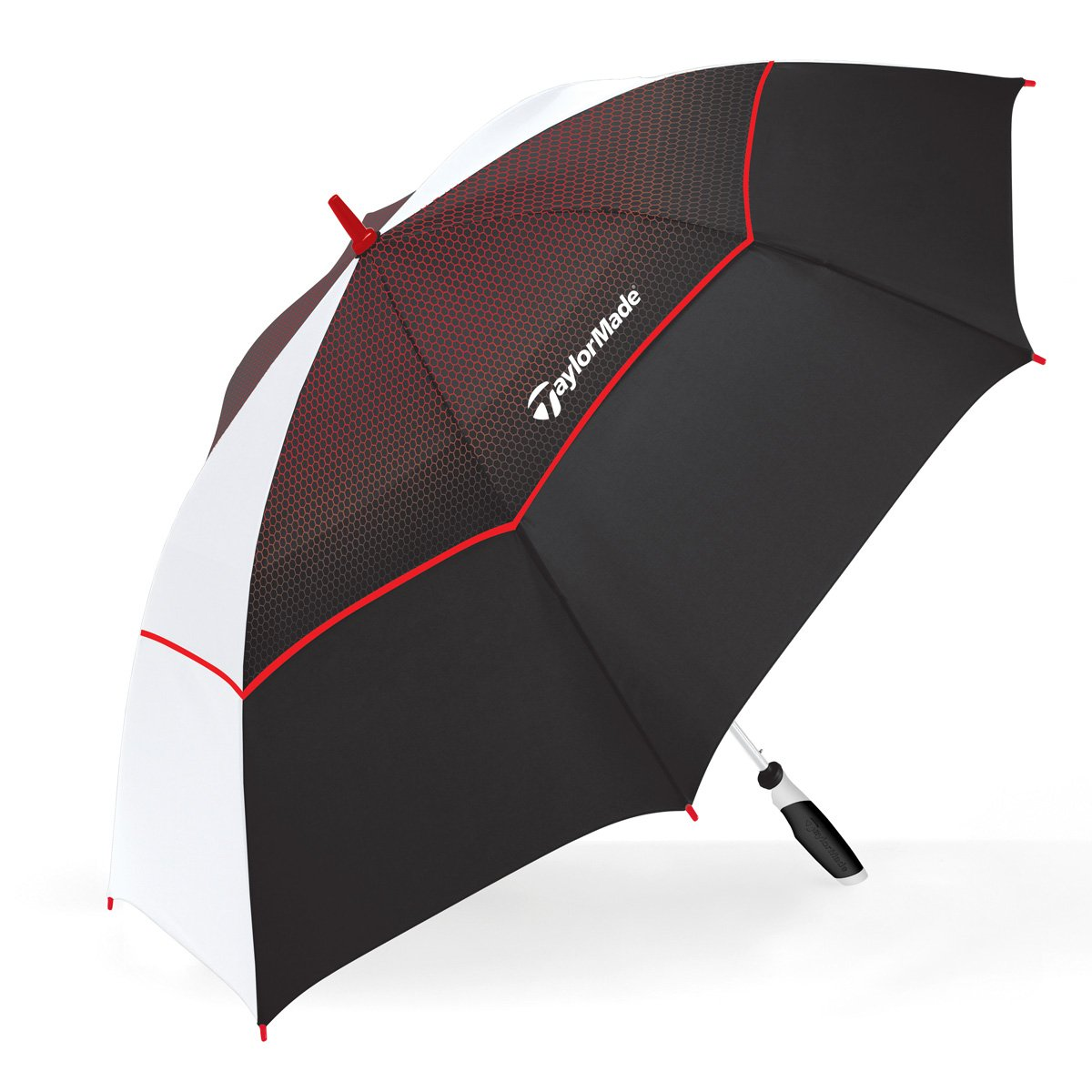 ShedRain® TaylorMade Co-Branded Vented Golf Umbrella: Black and White w/Red Trim