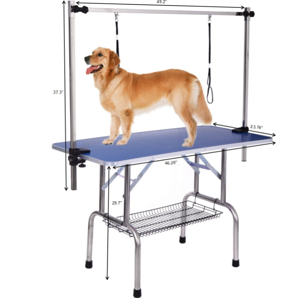 Dog Grooming Table, Adjustable Clamp Overhead Pet Grooming Arm with Double Grooming Loop (46'' by 24'') by Haige Pet (Image #2)