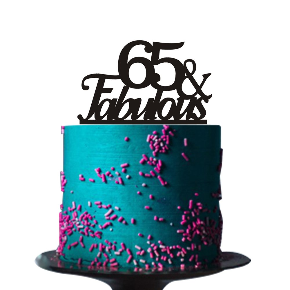 65 &fabulous cake topper for 65th birthday party decorations acrylic BLACK Ry