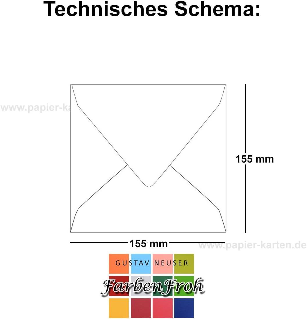 Nassklebung 75 St/ück Dunkelgrau Einladungskarten und mehr Quadratische Brief-Umschl/äge ohne Fenster in Anthrazit 15,5 x 15,5 cm Serie FarbenFroh/® F/ür Hochzeits-Karten