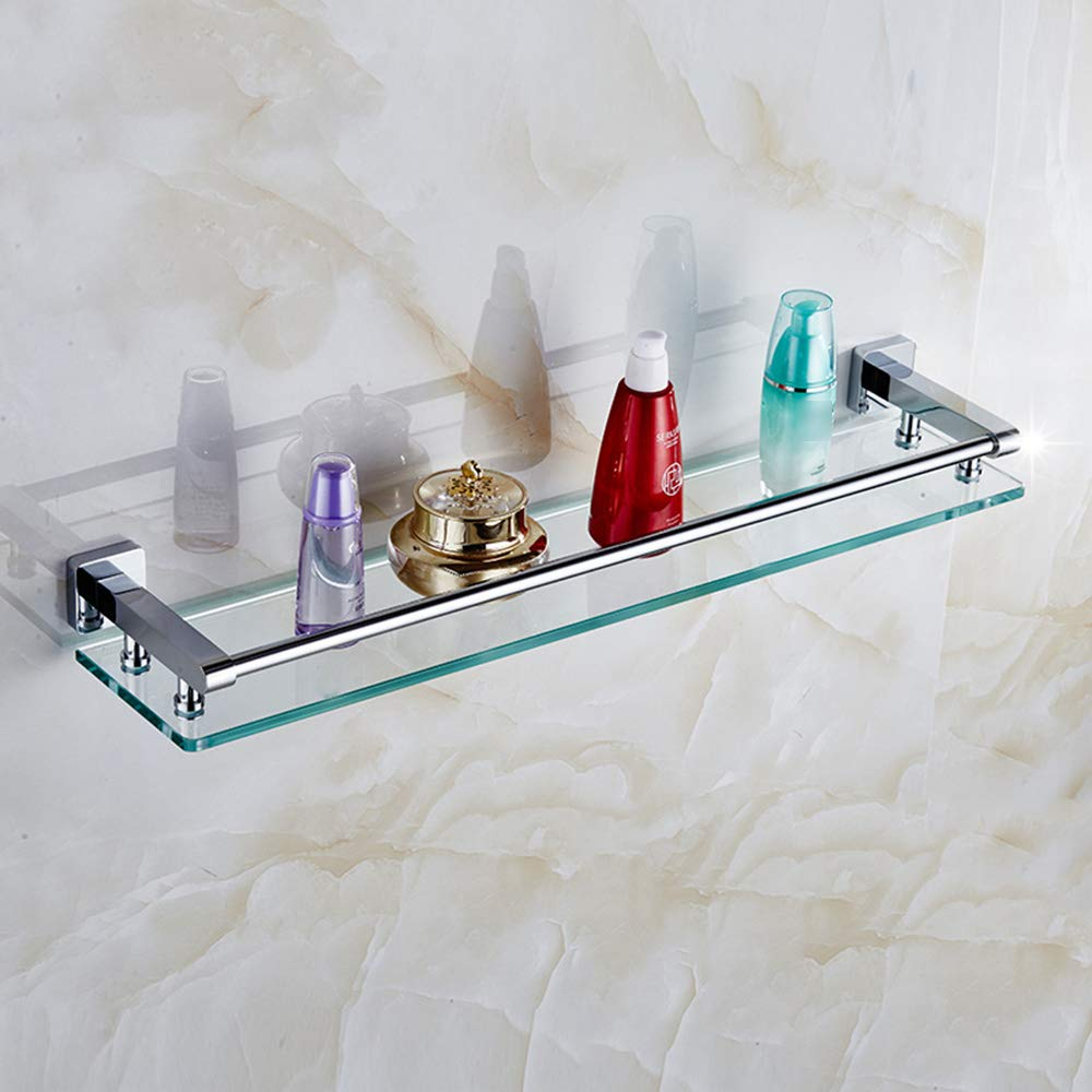 58cm 22.8'' Bathroom Glass Shelf Full Copper Tempered Glass Shelf, Single Layers of Bathroom Racks, Makeup Bathroom Shelf, with 3-Sided Guardrail Bathroom Shelves (Size   58cm 22.8'')