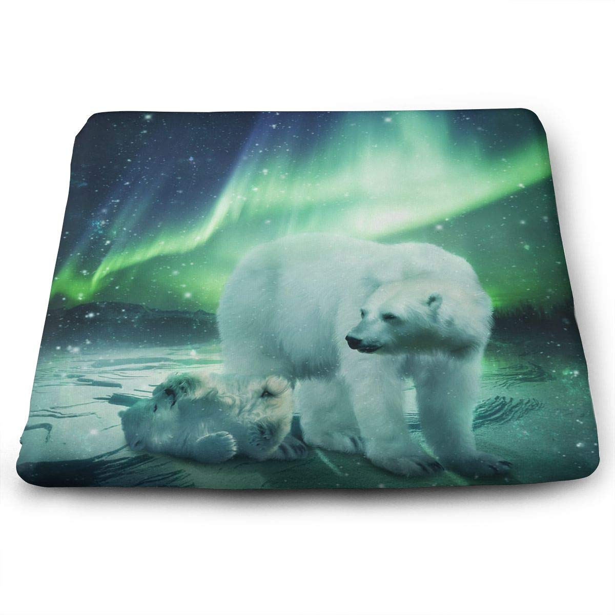 TLDRZD Novelty Perfect Indoor Outdoor Square Seat Cushion,Northern Lights Polar Bear Classic Crew Chair Pads Memory Foam Filled for Patio,Office,Kitchen,Desk,Travel,Kids,Yoga
