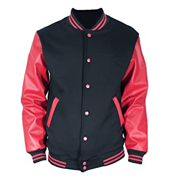 U World Men's Faux Leather Varsity Baseball Jacket Black Red at ...