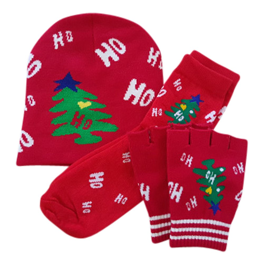 Boys Girls Toddlers 3-Piece Christmas Matching Ho Ho Ho Set Hat Gloves and Socks
