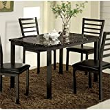 Cheap Furniture of America Maxson Faux Marble Top Dining Table in Black