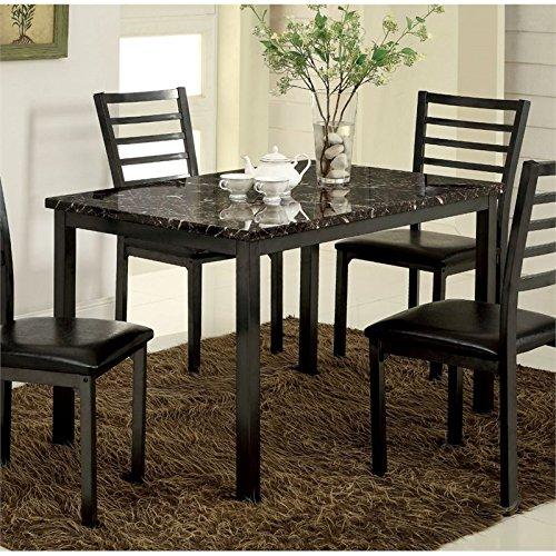 Furniture of America Maxson Faux Marble Top Dining Table in Black by Furniture of America