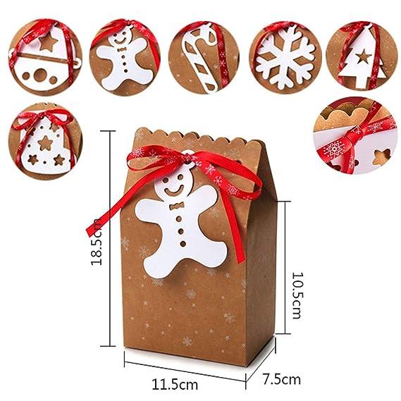 Kingsley 24pz Confezioni regalo Natale Kraft sacchetti decorativi bomboniere natalizie Scatole di carta caramelle Forniture per decorazioni natalizie 6 stili, 4,53x 2,95 x 7,28