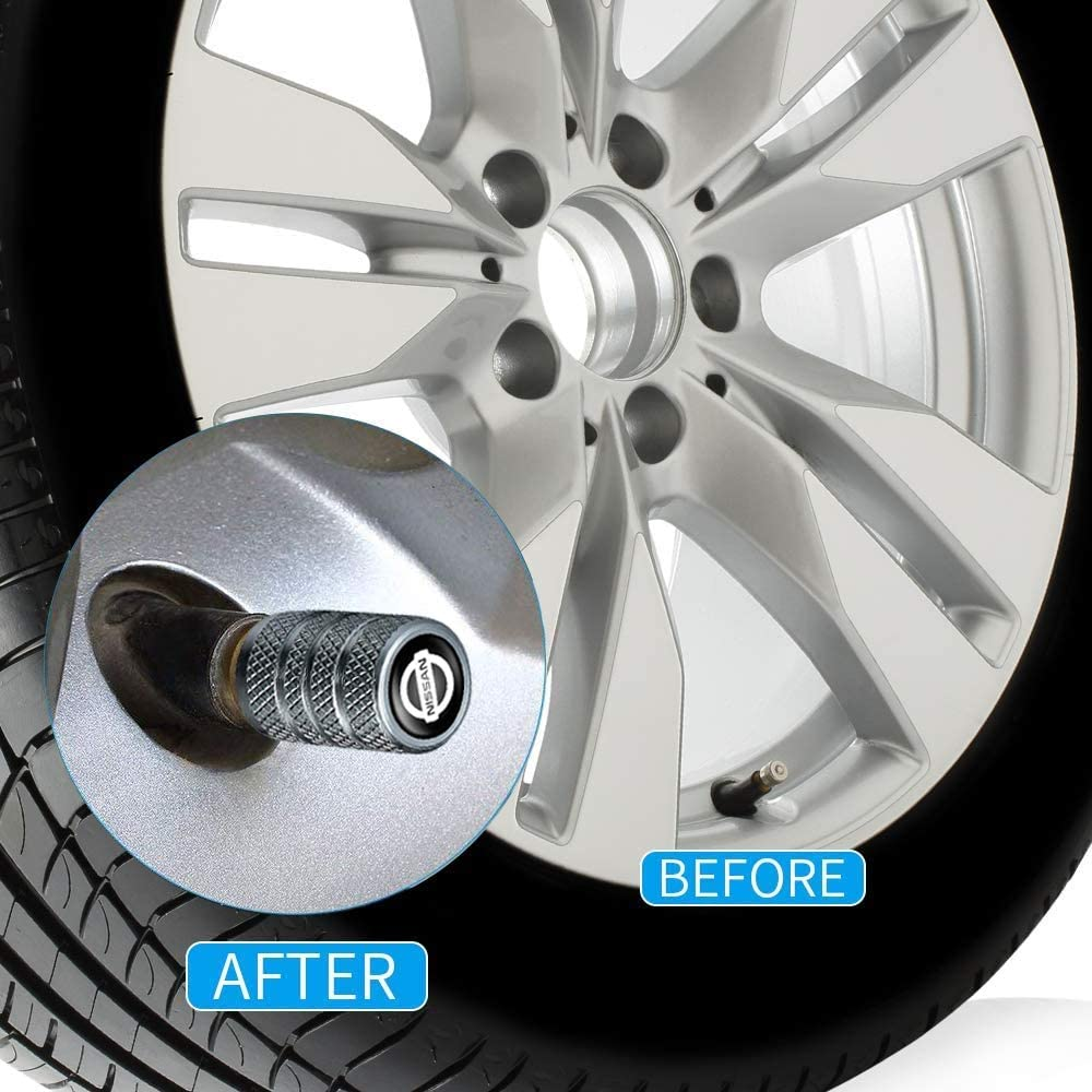 N//P 4 Pcs Metal Car Wheel Tire Valve Stem Caps for Nissan Versa Sentra Altima Rogue Murano Frontier Pathfinder Titan Logo Styling Decoration Accessories(Silver).