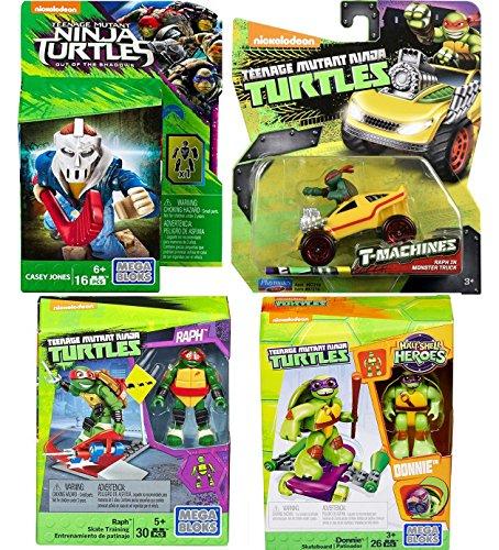 Comic Heroes Mega Bloks Teenage Mutant Ninja Turtles Raph Skate Training Pack & Half-Shell Heroes Donnie + Casey Jones Shadows Figure T-Machines Raphael in Monster Truck Diecast Vehicle TMNT set