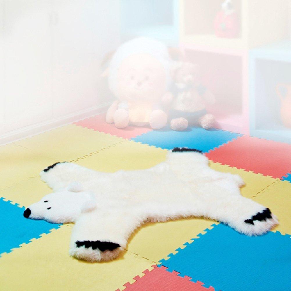 Cute cartoon seat cover, Children's room rugs Little white bear Bedroom blanket for bedroom Fluffy rug Floor seat-White 100x115cm(39x45inch)