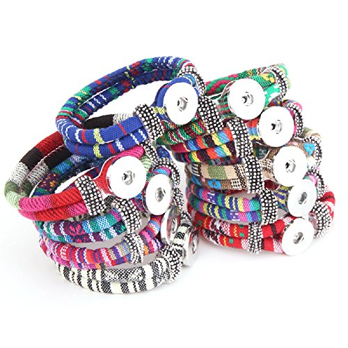 Pack of 10 Multicolors Artificial Leather 21cm Snap Bracelets for 5.5mm DIY Snaps 18mm-20mm Snap Button ()