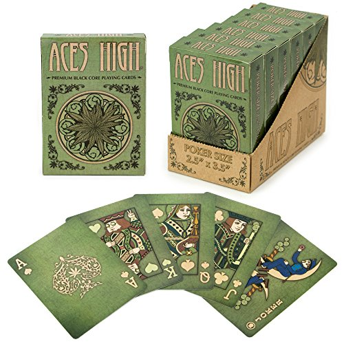 6 Decks of Aces High Premium Green Playing Cards, Black Core, Plastic-Coated, Poker Wide Size, Standard Index by Brybelly