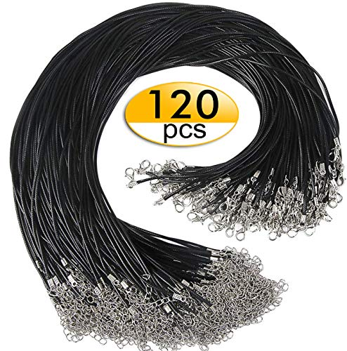 120pcs Black Necklace Cord with Clasp 1.5mm Bulk Necklace String for Bracelet Necklaces Pendants Jewelry Making Accessories(20 Inches)